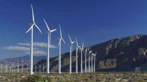 ms wind turbines / palm springs, california - wind power stock videos & royalty-free footage
