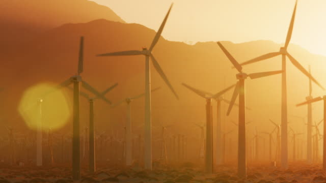 ms wind turbines / palm springs, california - mill stock videos & royalty-free footage
