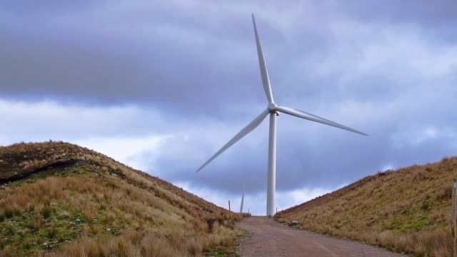 wind turbines renewable energy farm in scottish highlands, moy - carbon footprint stock videos and b-roll footage