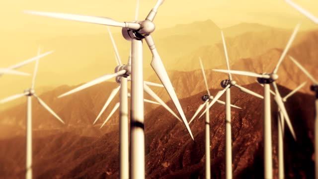 Wind Turbines: Slow Pass at Sunset