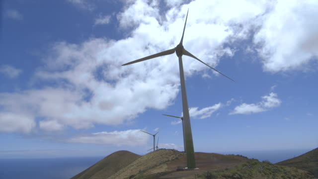 wind turbines slowly turn on the island of el hierro. - inquadratura fissa video stock e b–roll