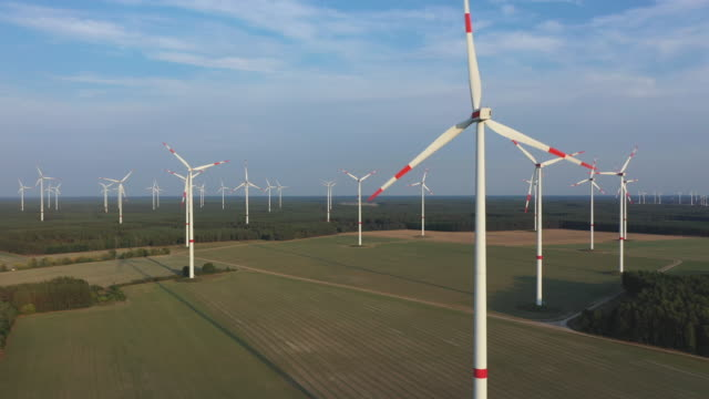 wind turbines spin at a wind park on august 25 2019 near gross leinen germany while the german government has successfully promoted investment into... - vindkraft bildbanksvideor och videomaterial från bakom kulisserna
