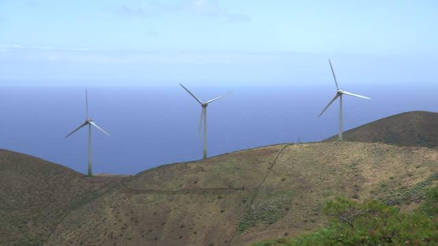 Wind turbines spin on the island of El Hierro.