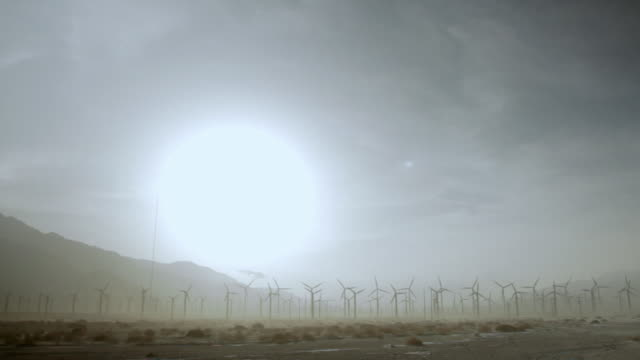WS Wind turbines spinning in desert / Palm Springs, California, USA