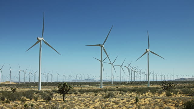 Wind Turbines Spinning Together