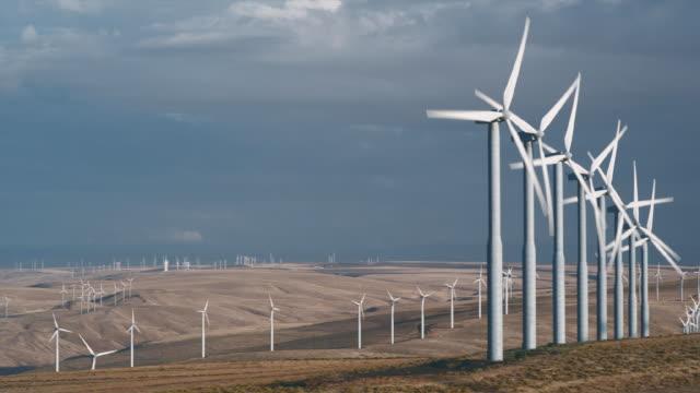 WS PAN Wind turbines turning in landscape / Zillah, Washington, USA