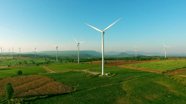 aerial view : wind turbines - land stock videos & royalty-free footage