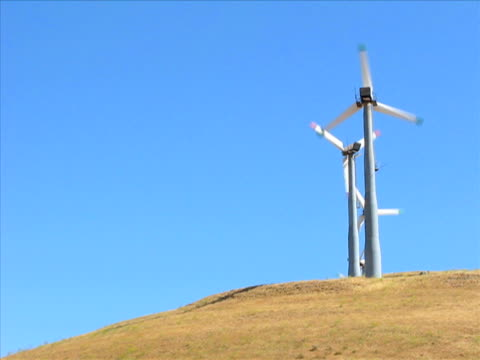 wind turbines (pal) - four objects stock videos & royalty-free footage