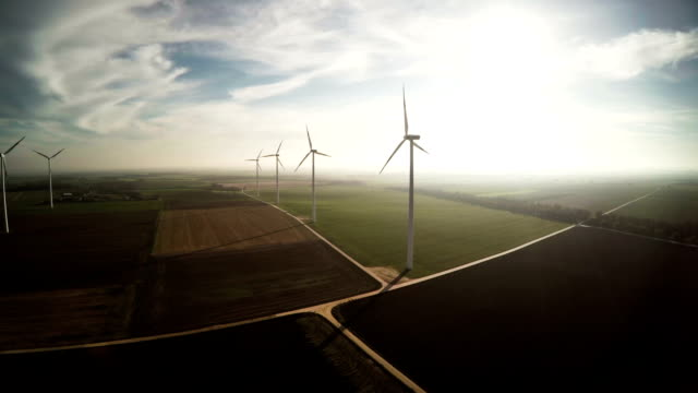 aerial : wind turbines - windmill stock videos & royalty-free footage