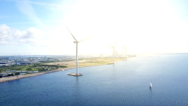 wind turbines - copenhagen stock videos & royalty-free footage