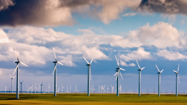 Wind turbines with dark clouds