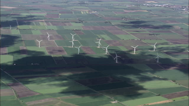 Windfarm in Fenland - Aerial View - England,  Lincolnshire,  South Holland District helicopter filming,  aerial video,  cineflex,  establishing shot,  United Kingdom