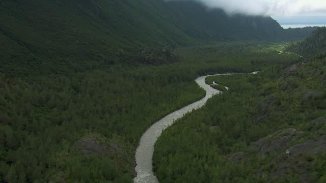 stockvideo's en b-roll-footage met winding creek in scenic landscape in alaska - alaska verenigde staten