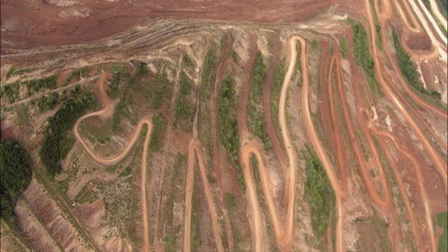 aerial winding road on hillside / eisenerz, styria, austria - bergwerk stock-videos und b-roll-filmmaterial
