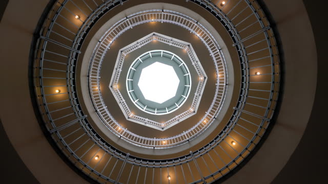 winding staircase with light well - vanishing point stock videos & royalty-free footage