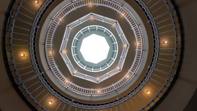 winding staircase with light well - directly below stock videos & royalty-free footage