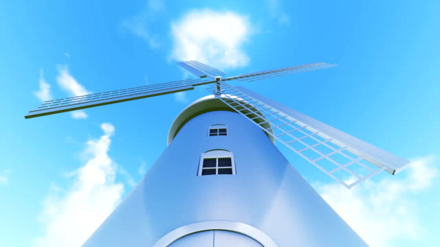 windmill and sky - dutch culture stock videos & royalty-free footage