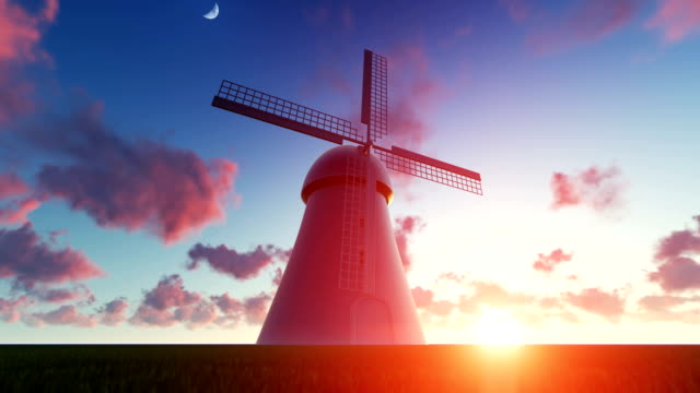 windmill at sunset - netherlands stock videos & royalty-free footage
