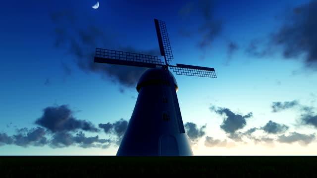 windmill landscape - watermill stock videos & royalty-free footage