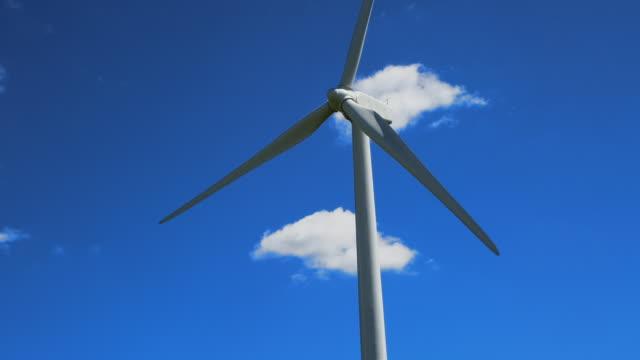 Windmill tilts down to shot of Windfarm. Summer.