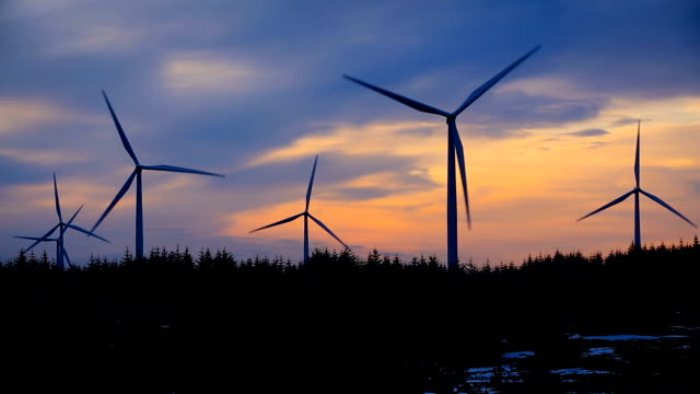 windmills against sky at night, norway - mill stock videos & royalty-free footage
