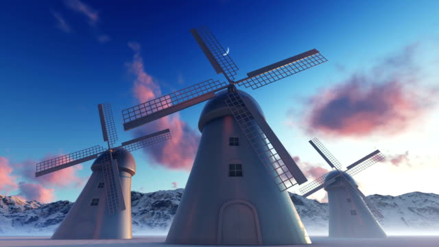 windmills and mountain - mill stock videos & royalty-free footage