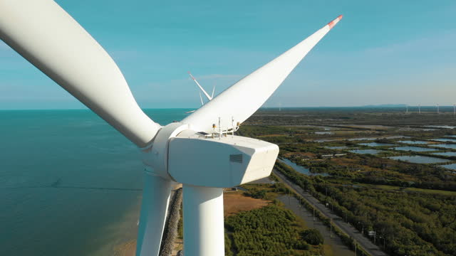 windmills for electric power production seaview - generator stock videos & royalty-free footage