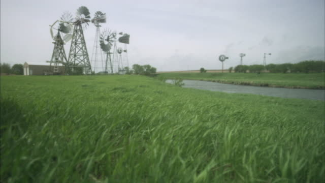 ws windmills in green, grassy field with river/ buffalo ridge, minnesota - medium group of objects stock videos & royalty-free footage