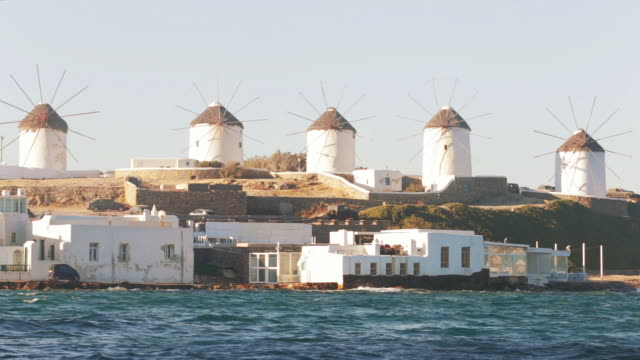 windmills in mykonos, greece. - mykonos stock videos and b-roll footage