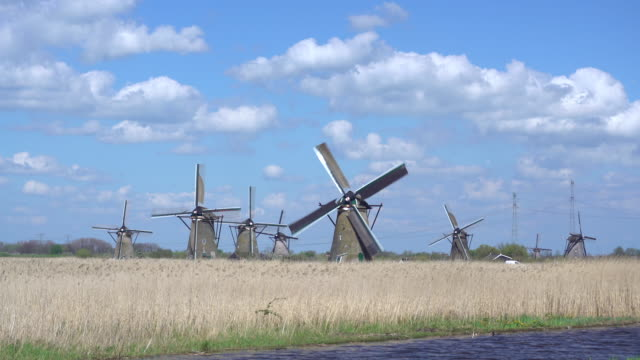 windmills, kinderdijk, unesco world heritage site, netherlands, europe - dutch culture stock videos and b-roll footage