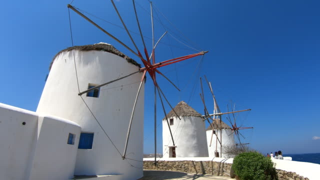 windmills - mykonos, greece - mykonos stock videos & royalty-free footage