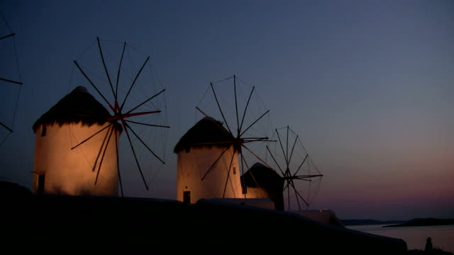 windmills, mykonos, greece - mykonos stock videos and b-roll footage