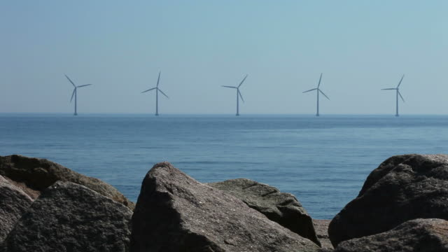 windmills off shore - five objects stock videos and b-roll footage