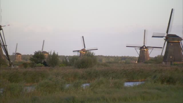 Windmills populate the Kinderdijk countryside. Available in HD.