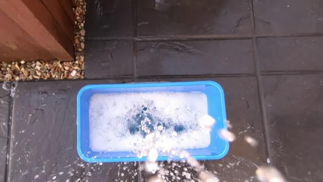 vídeos y material grabado en eventos de stock de a window cleaner cleaning a window - mojar