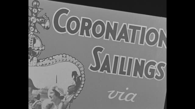 window display in shop with advertisement of cunard white star passenger service to coronation of king george vi; window glass reflects pedestrians... - ruler stock videos & royalty-free footage