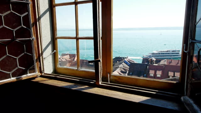 Window in medieval castle - view at sea