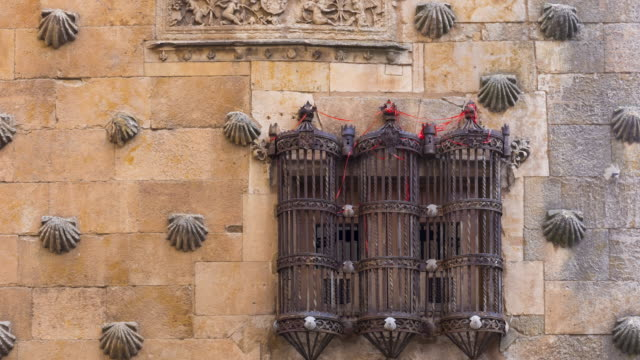 vídeos y material grabado en eventos de stock de window in the facade of casa de las conchas, salamanca city, salamanca province, castilla y leon, spain, europe - salamanca