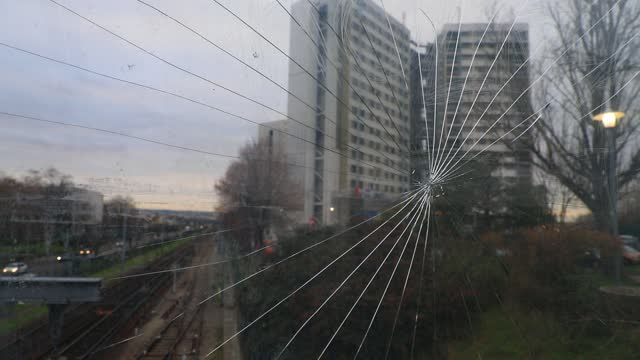 window is broken in a public passage with the background of social housing buildings on january 8, 2021 in nanterre, france. unlike the united... - urban sprawl stock videos & royalty-free footage