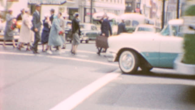 window shopping / street traffic / exiting building / creamery exterior / shopping in bay area on june 01 1960 in san francisco california - 1960 stock-videos und b-roll-filmmaterial
