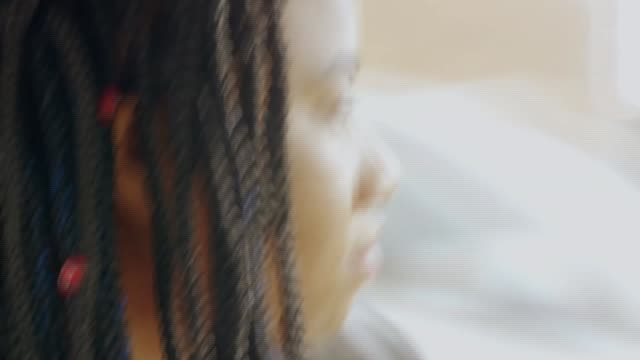 two young women living in britain since children not granted indefinite leave to stay shankea stewart interview sot **stewart interview partly... - image manipulation stock videos and b-roll footage