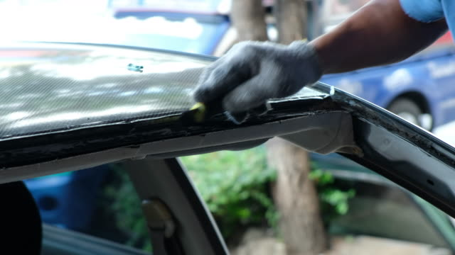 windshield repair and install auto glass because car accident - windshield stock videos & royalty-free footage