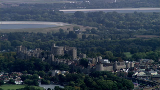 windsor castle  - aerial view - england, windsor and maidenhead, united kingdom - berkshire england stock videos & royalty-free footage