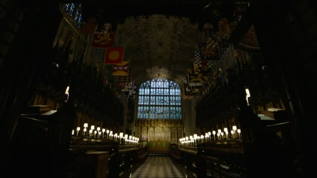 windsor castle and st george's chapel interiors and general views england berkshire windsor int various views st george's hall in windsor castle /... - windsor england stock videos and b-roll footage
