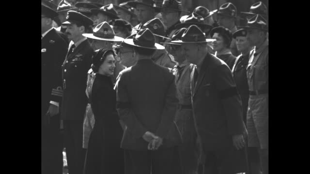 ws windsor castle exterior / vs queen elizabeth ii greets scoutmasters and scouts from great britain the commonwealth and seven foreign countries... - princess margaret 1950 stock videos and b-roll footage