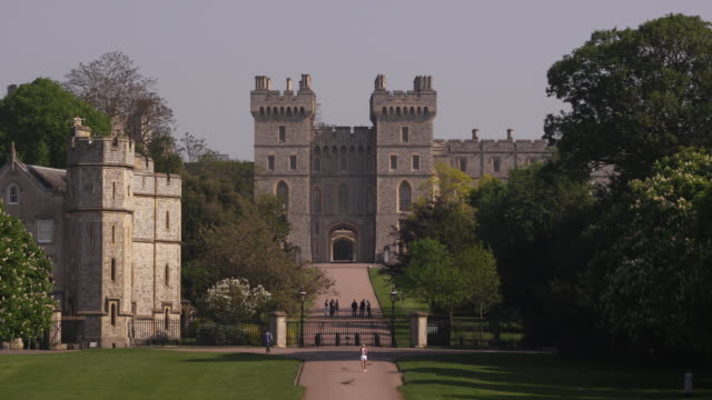 windsor castle from the long walk in windsor, england. - environment or natural disaster or climate change or earthquake or hurricane or extreme weather or oil spill or volcano or tornado or flooding stock videos & royalty-free footage