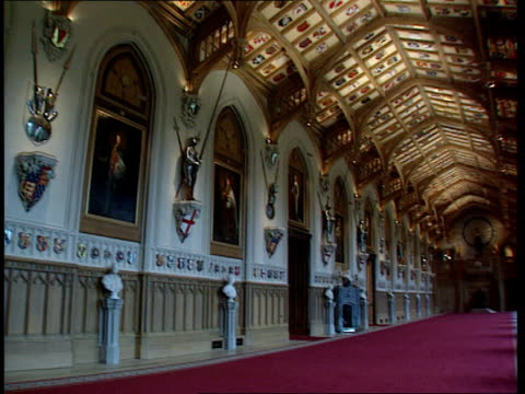 itn england berkshire windsor castle gv pan restored banqueting hall la ms ceiling incorporating carved shields pan - windsor castle stock videos & royalty-free footage