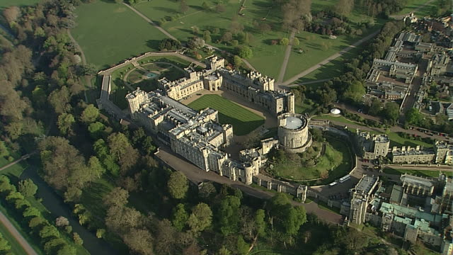 aerial cu windsor castle - royalty stock videos & royalty-free footage