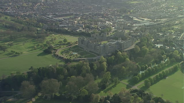 aerial ws windsor castle - royalty stock videos & royalty-free footage