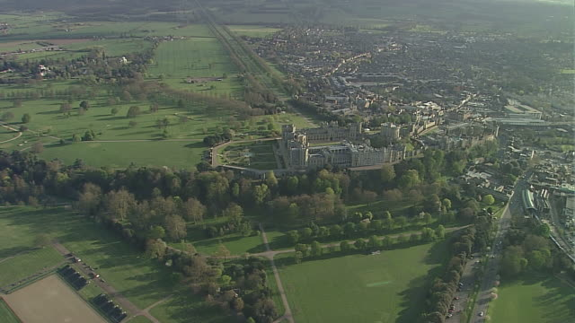 aerial ws windsor castle - windsor castle stock videos and b-roll footage